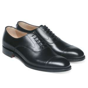 Cheaney Alfred Capped Oxford in Black Calf Leather
